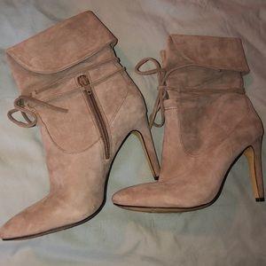 Suede booties heels